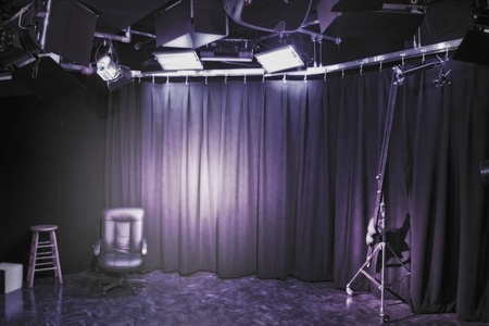 spot: Professional photo-studio interior set up.  Stock Photo