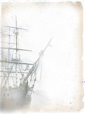 gaff: Tall ship on grungy paper  With copy space for your additions