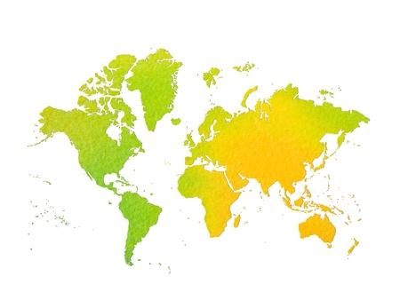 flat earth: world map , my drawing  Stock Photo