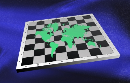 World map on chess board. Political view on globe. Stock Photo - 13749934