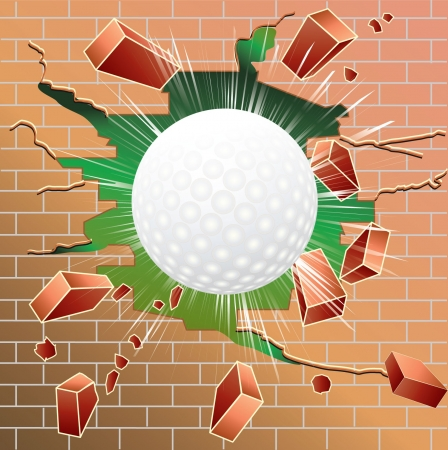 Golf ball breaking through red brick wall Illustration