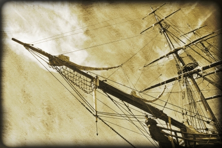 gaff: Aged grungy image of an ancient tall ship