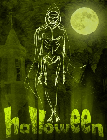 ghost town: Halloween poster  Glowing Skeleton walking along little town streets