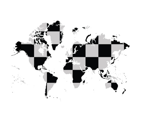 World map with chess board pattern photo