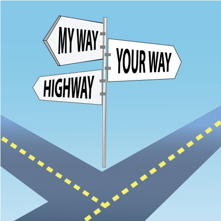 Your way, my way, highway  Cartoon  Vector