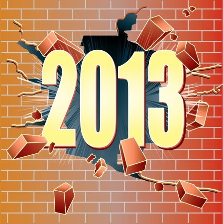 New Year 2013 breaking through red brick wall Stock Vector - 16683686
