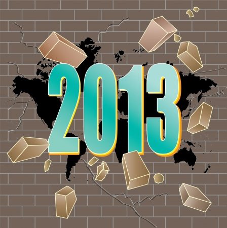 break joints: New 2013 year breaking trough world map hole in grey brick wall