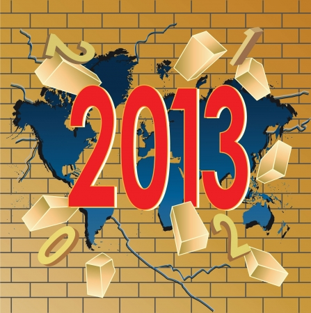 New 2013 year breaking trough world map and last year digits Stock Vector - 16801945