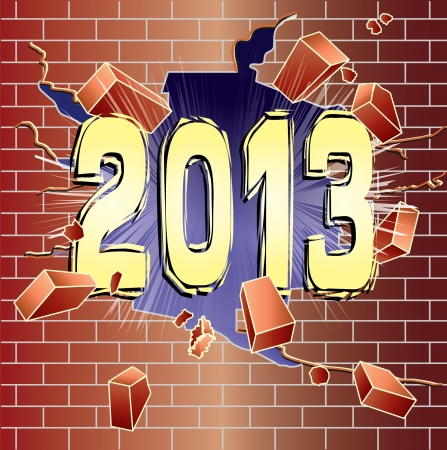 New Year 2013 breaking through red brick wall Vector