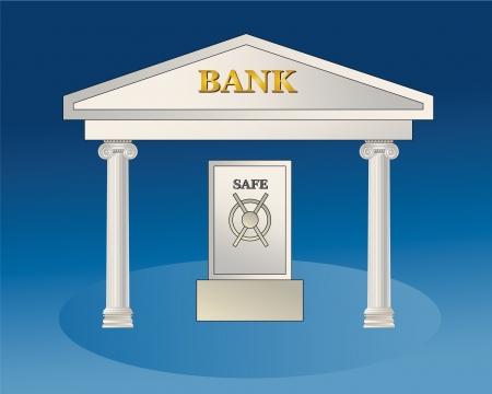 withdraw: Bank building with big safe  illustration  Illustration