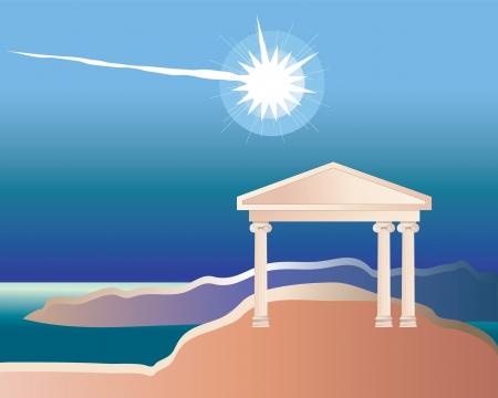 Meteorite blowing in the sky of ancient Greece