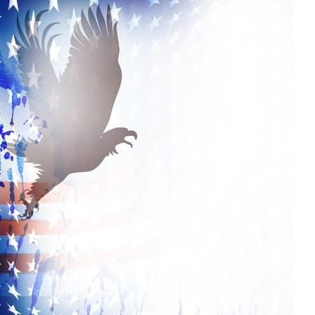 American flag and bald eagle theme grungy backdrop.