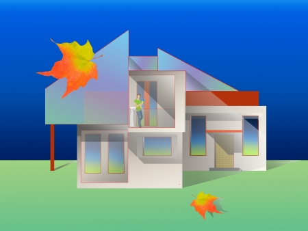 side viewing: Contemporary house. Illustration. Stock Photo