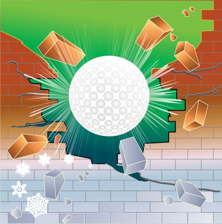 break joints: Spring golf ball breaking through partially frozen red brick wall.