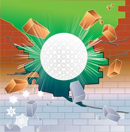 Spring golf ball breaking through partially frozen red brick wall. Stock Vector - 18601790