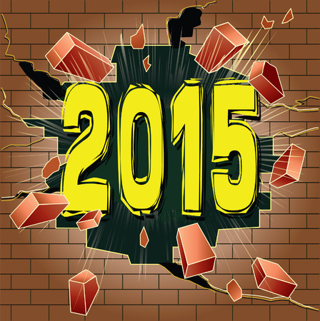 New 2015 Year breaking trough brick wall. Great expectations. Vector