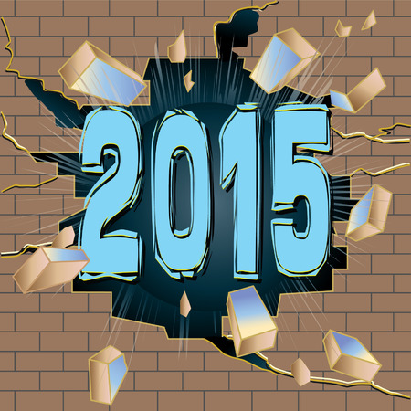 New Year 2015 breaking through brown brick wall