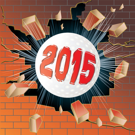 break joints: Golf ball with new year 2015 breaking through brick wall