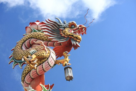 golden dragon in chinese temple in ayutthaya province photo