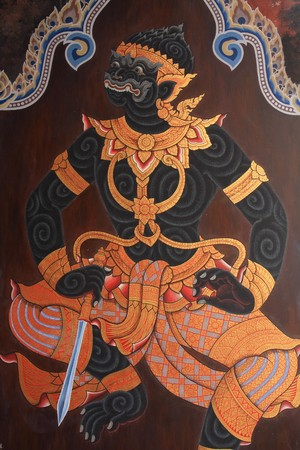 hanuman: the mural image in grand palace thailand