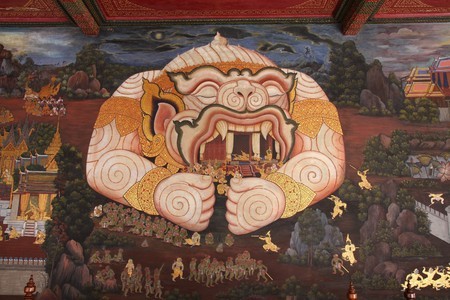 the mural image in grand palace thailand photo