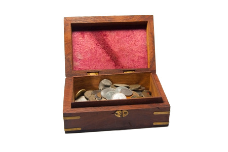Opened Treasure Chest with Coins Isolated on White Background photo