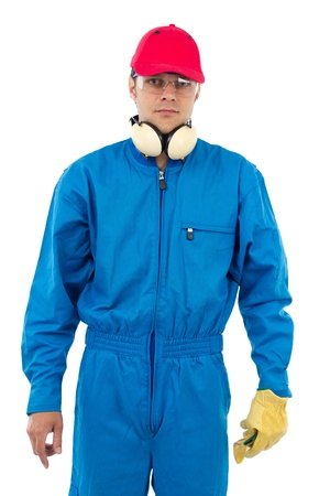 worker man on a white background wearing protection equipment Stock Photo - 15008310