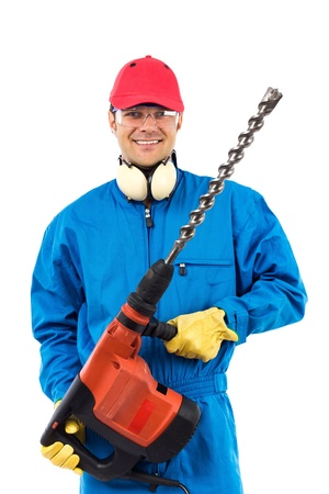 worker which a power drill on a white background