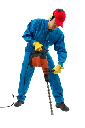worker with hammer equipment on a white background