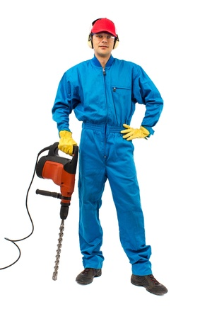 worker with protective gear holding a hammer drill on a white background Stock Photo - 15008297