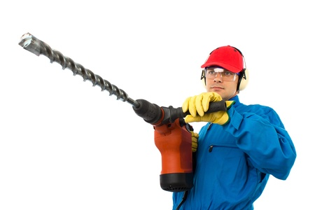 worker with a hammer drill on white background photo