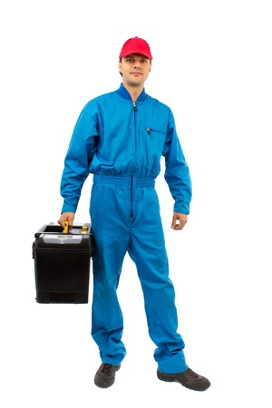 young worker wearing blue toolbox isolated on white equipment