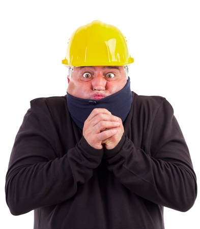 portrait of a worker suffering cold on white background Stock Photo - 15739777