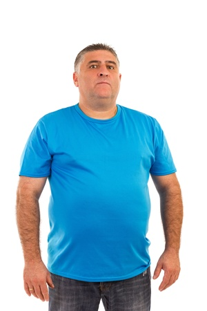 1 man only:   Portrait of a serious  man in t-shirt isolated on white background