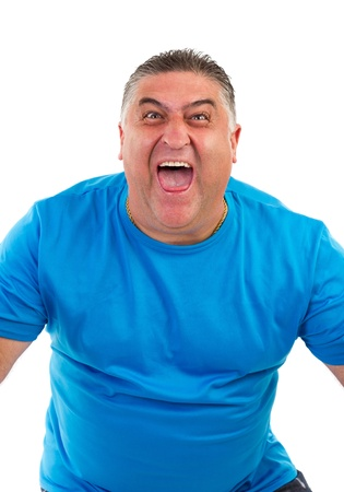 portrait of a man screaming on white background Stock Photo - 15739784