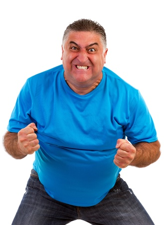Angry man isolated on a white background Standard-Bild