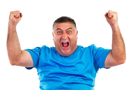 shout: Portrait of happy man with hands lifted upwards isolated on white Stock Photo