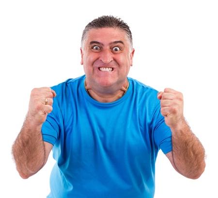 persona enojada: Hombre con crisis nerviosa aislada en el fondo blanco Foto de archivo