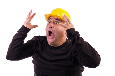 Construction worker screaming in terror, isolated on white  Stock Photo - 15895310