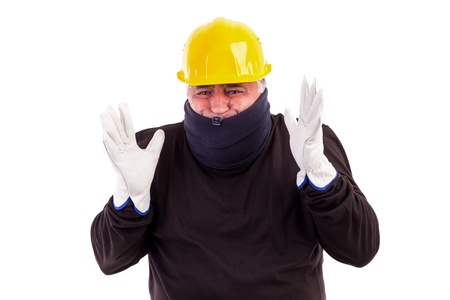 Worker suffering cold with arms up isolated on white Stock Photo - 15895308