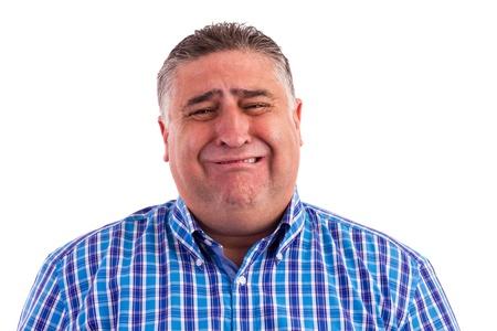 desilusion: Hombre de negocios sentir miedo y llanto aislado en blanco-Expresiones