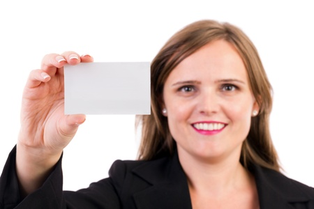 Smiling business woman holding a blank business card over white background Stock Photo - 16008198