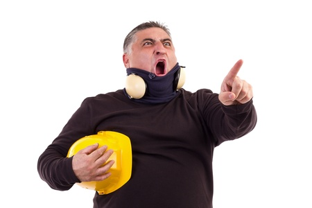 Angry worker pointing at something and screaming. White background Stock Photo - 16305592