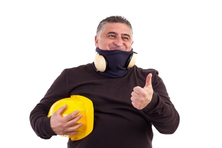 Satisfied construction worker with thumbs up.Studio shot, white background Stock Photo - 16305591