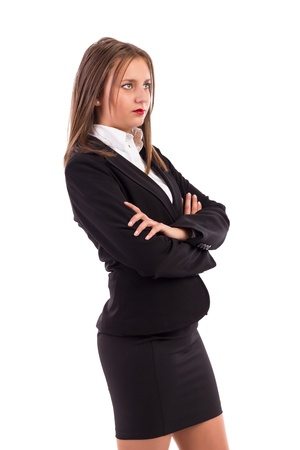Portrait of pretty confident business woman looking away isolated on white Stock Photo - 16825779