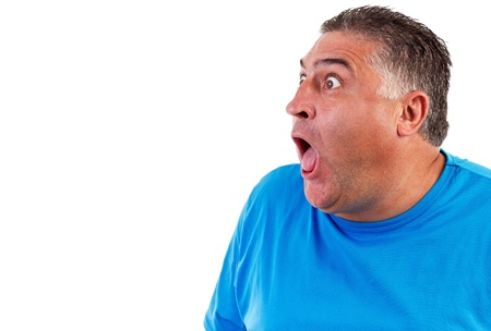 Man with astonished expression isolated on white background