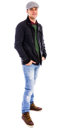 Full body portrait of a  young man against white background Stock Photo - 17324966