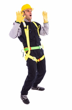 Worker in full protective clothing screaming , isolated on white Stock Photo - 17324956
