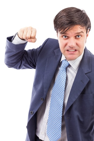 Closeup portrait of an angry businessman on white background photo