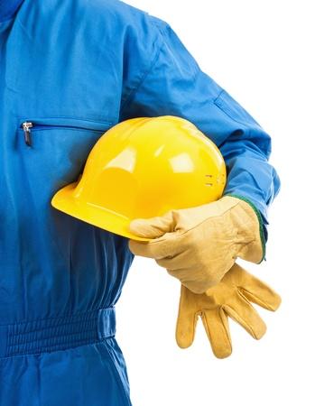 Yellow hardhat under arm against white background Stock Photo - 18467222